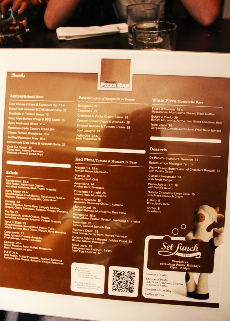 Da Paolo Pizza Bar menu