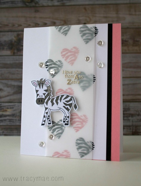 Zebra Valentine by Tracy Gruber | Wild About Zoo Stamp set by Newton's Nook Designs