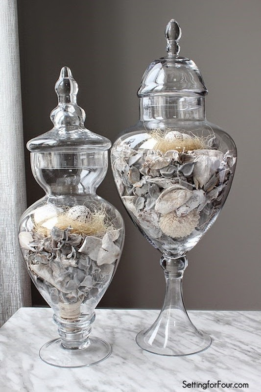 Spring Apothecary Jar Decor - Setting for Four
