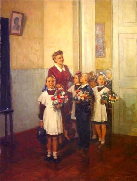 A. Kerzhner, First day in school, 1950